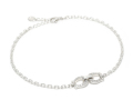Horseshoe Chain Anklet - Silver w/CZ