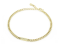 Small ID Chain Bracelet - K18Yellow Gold w/Diamond
