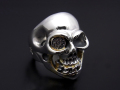 BILL WALL LEATHER��SYMPATHY OF SOUL  Medium Master Skull Ring - Silver w/Gold Solder