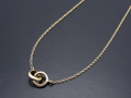 2 Ring Necklace - K10 Yellow Gold