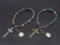 Beads Bracelet with Skull & Cross