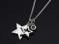 Stars & Black Diamond Necklace 2015 Christmas Model - Silver