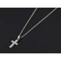 Small Gravity Cross Necklace - Silver w/CZ