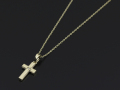 Small Gravity Cross Necklace - K10Yellow Gold w/Diamond