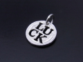 Cut Out Coin Charm Luck - Silver