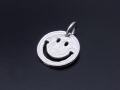 Cut Out Coin Charm Smile - Silver