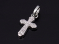 Smooth Cross Pendant - Silver w/CZ