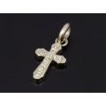 Smooth Cross Pendant - K10Yellow Gold w/Diamond
