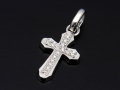 Smooth Cross Pendant M - Silver w/CZ