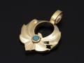 Symbolic Eagle Pendant Small - K10YG w/Turquoise