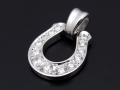 Horseshoe XL Pendant - Silver w/CZ