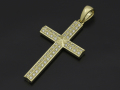 Ridge Cross Pendant - Large K18Yellow Gold w/Diamond
