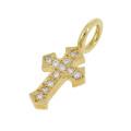Little Cross Charm - K18Yellow Gold w/Diamond
