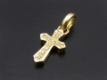 Smooth Cross Pendant - K18 Yellow Gold w/Diamond