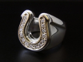 Combination Horseshoe Ring - Silver��K10 Yellow Gold w/Diamond