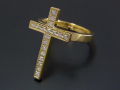 Ray Cross Ring - K18 Yellow Gold w/Diamond