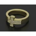 Dazzle Cross Ring w/Diamond - K18Yellow Gold