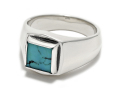 Square Turquoise Ring - Silver