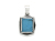 Square Turquoise Pendant - Silver
