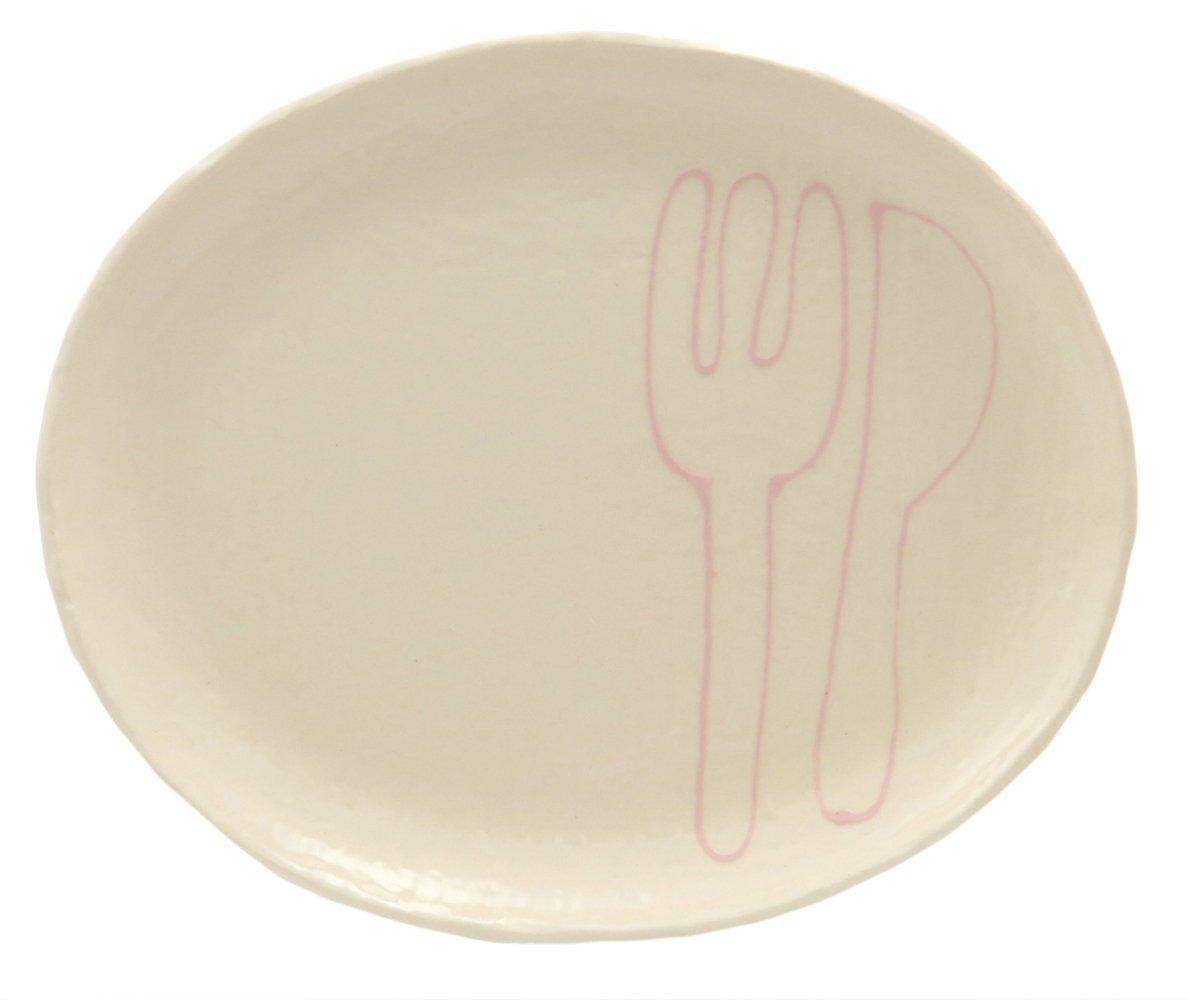 23cmのメイン用3サイズの大きいお皿【小判皿大(フォーク&ナイフピンク)】