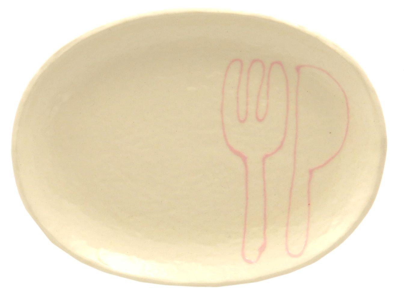 18cmの取り皿に使える楕円皿 3サイズの真ん中のお皿【楕円皿中(フォーク&ナイフピンク)】