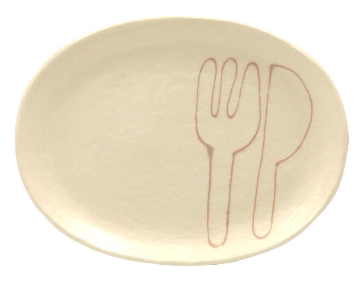 18cmの取り皿に使える楕円皿 3サイズの真ん中のお皿【楕円皿中(フォーク&ナイフモカ)】