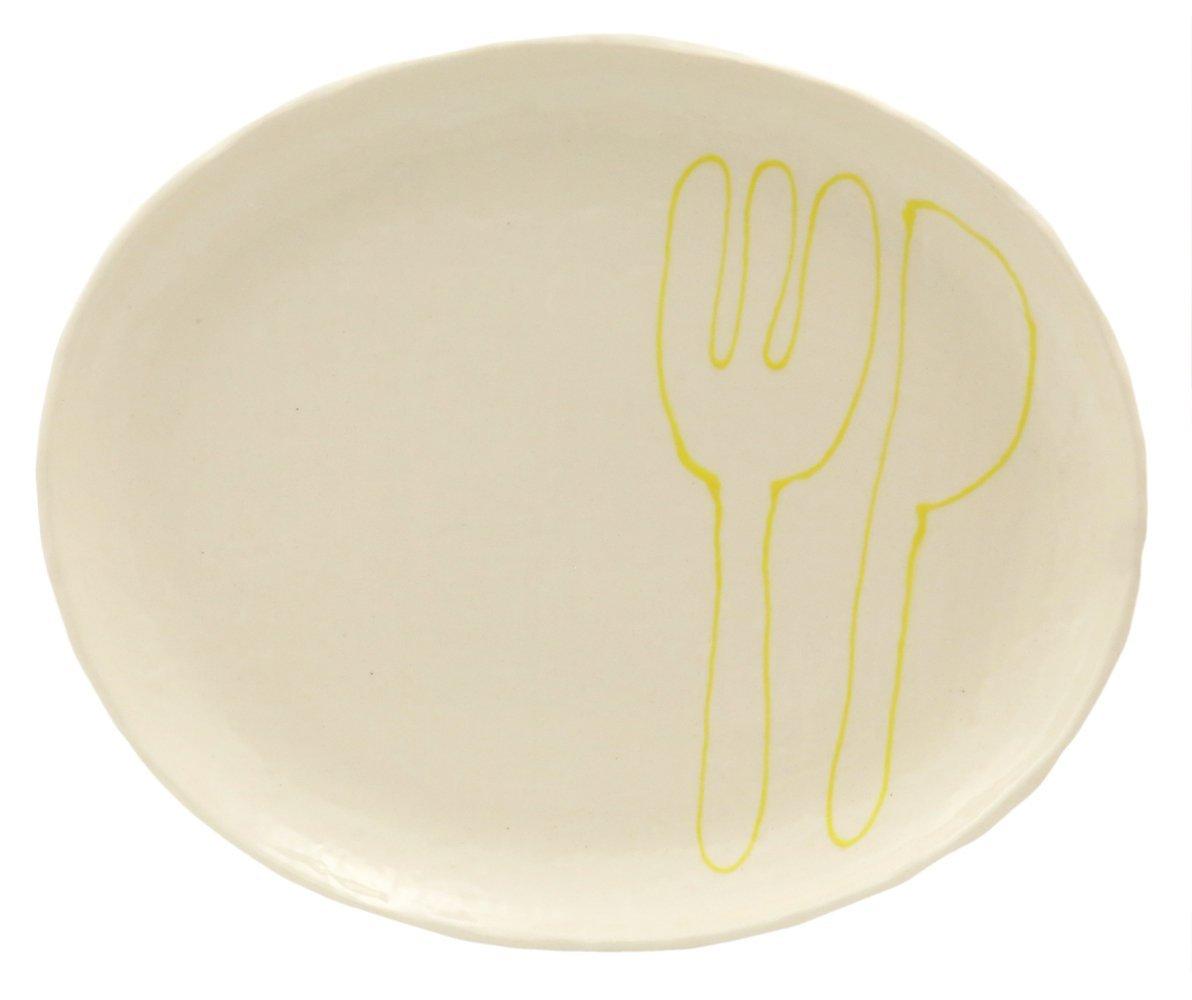 23cmのメイン用3サイズの大きいお皿【小判皿大(フォーク&ナイフイエロー)】