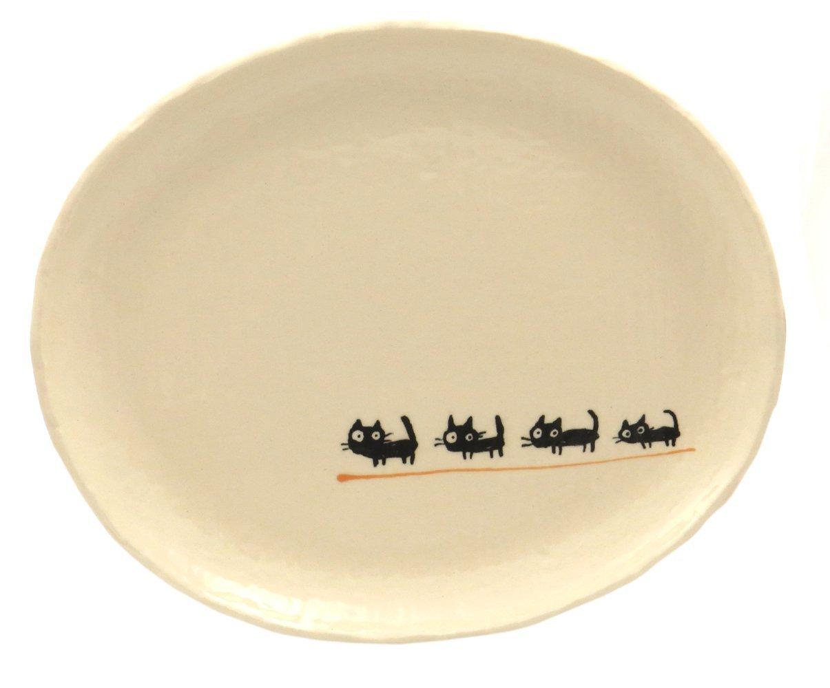 23cmのメイン用3サイズの大きいお皿【小判皿大(黒ねこオレンジ)】