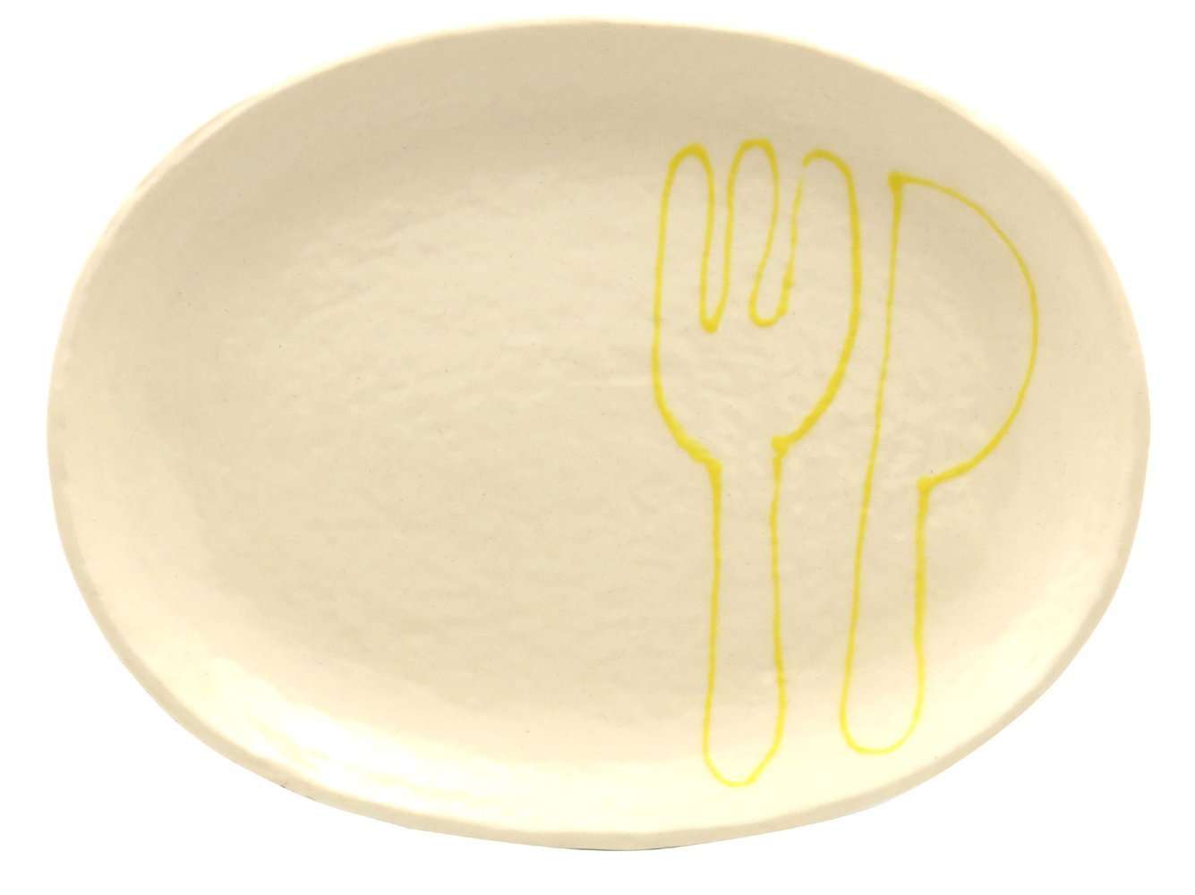 18cmの取り皿に使える楕円皿 3サイズの真ん中のお皿【楕円皿中(フォーク&ナイフイエロー)】