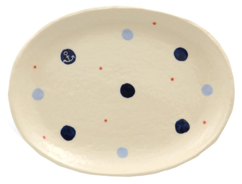 18cmの取り皿に使える楕円皿 3サイズの真ん中のお皿【楕円皿中(いかり青ドット)】