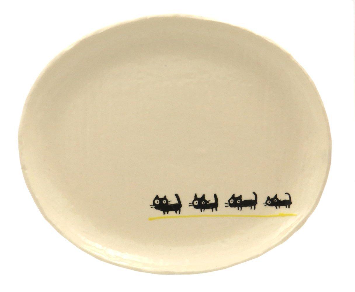 23cmのメイン用3サイズの大きいお皿【小判皿大(黒ねこイエロー)】