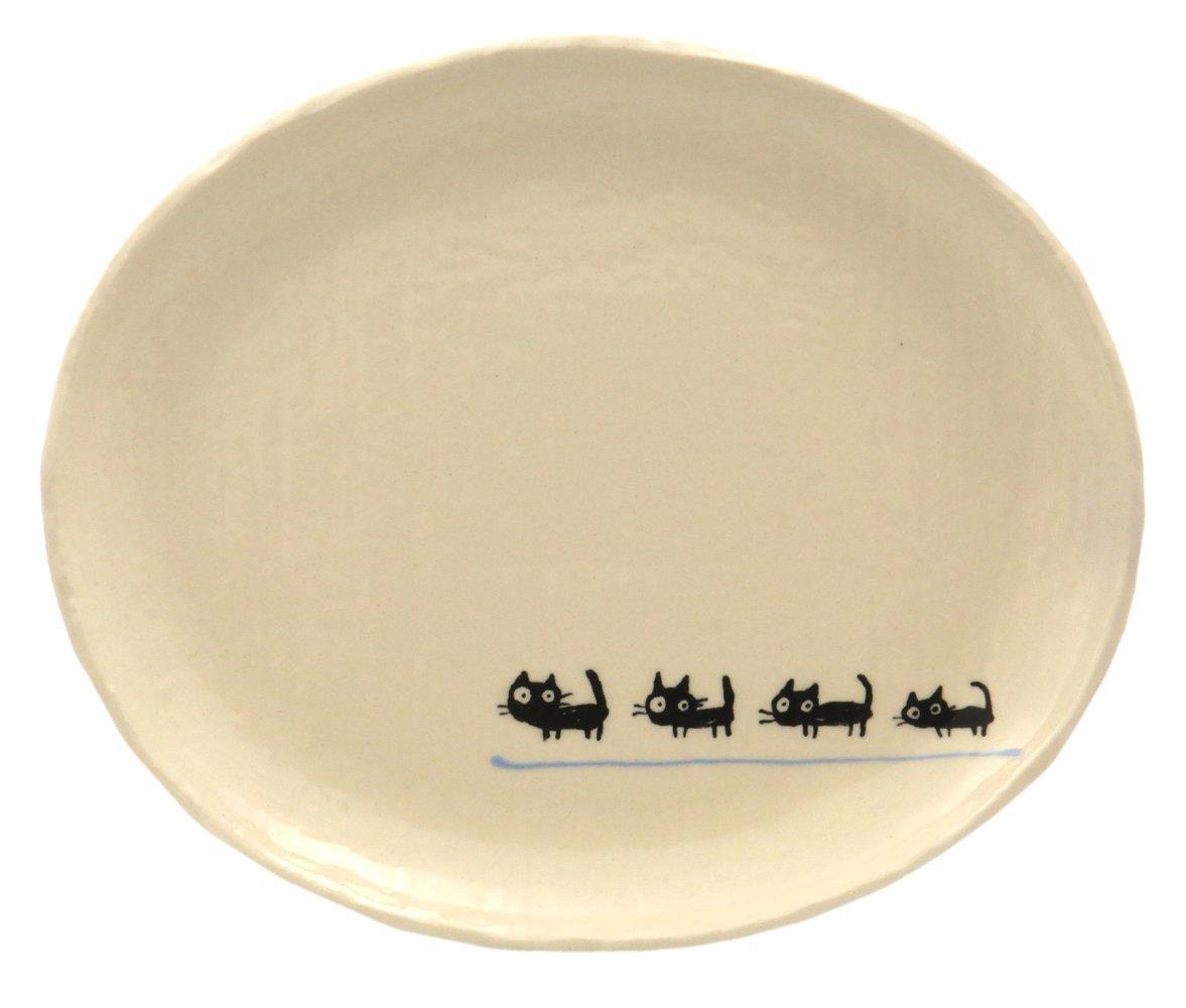23cmのメイン用3サイズの大きいお皿【小判皿大(黒ねこブルー)】