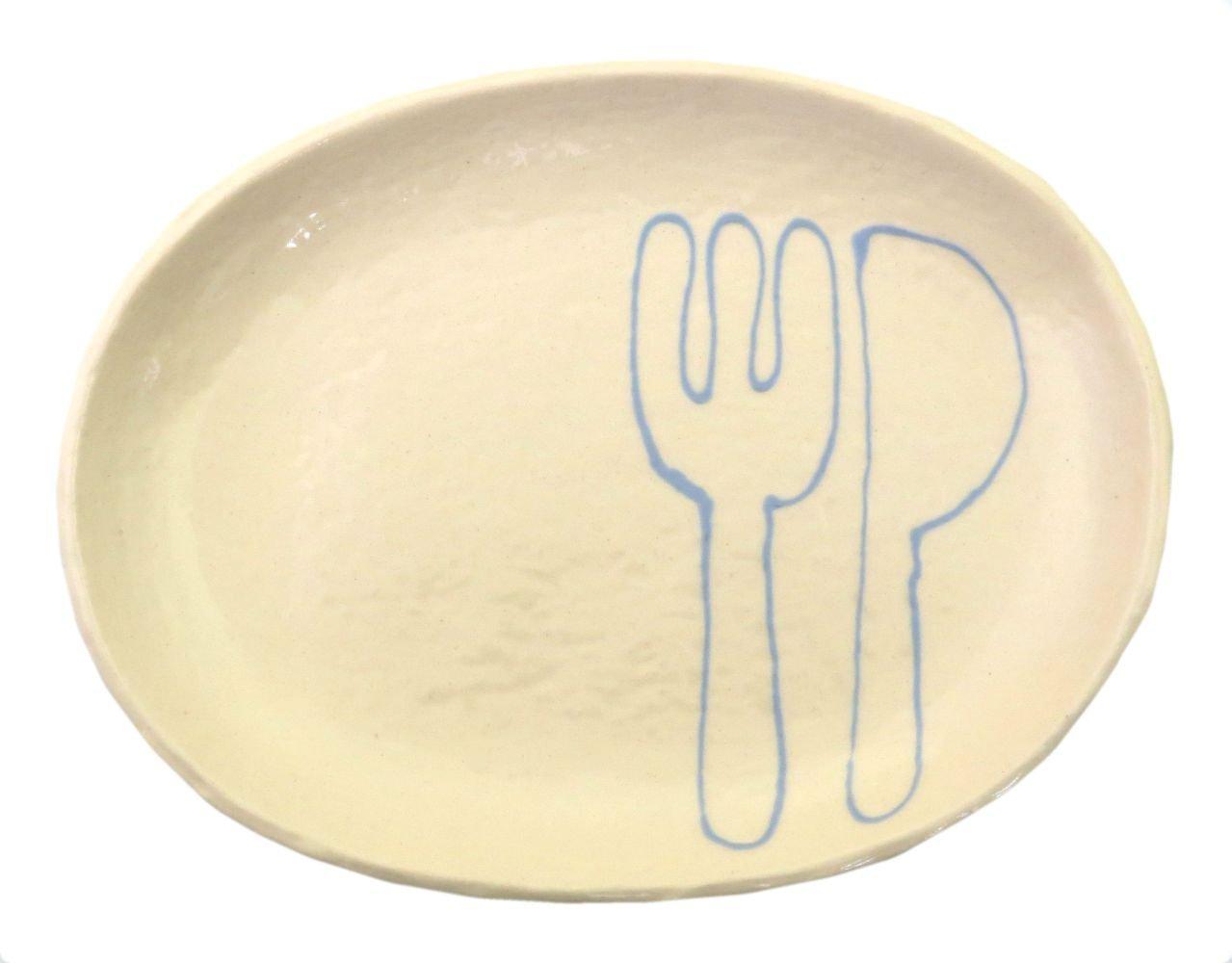 18cmの取り皿に使える楕円皿 3サイズの真ん中のお皿【楕円皿中(フォーク&ナイフブルー)】