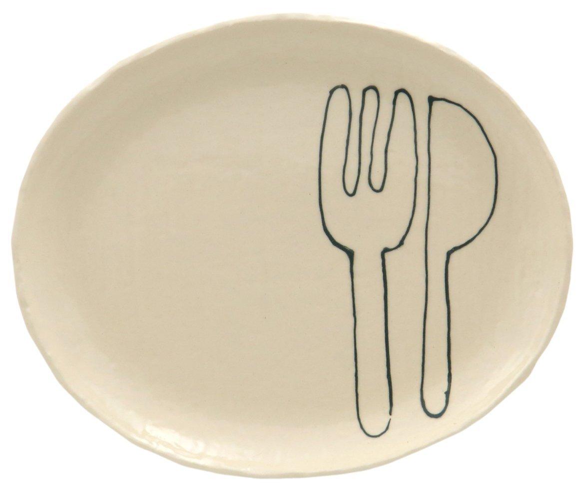 23cmのメイン用3サイズの大きいお皿【小判皿大(フォーク&ナイフグリーン)】