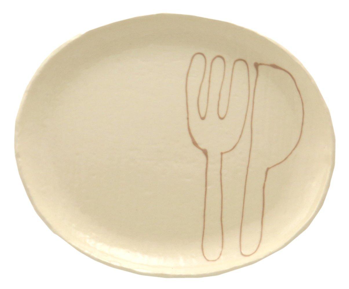 23cmのメイン用3サイズの大きいお皿【小判皿大(フォーク&ナイフモカ)】