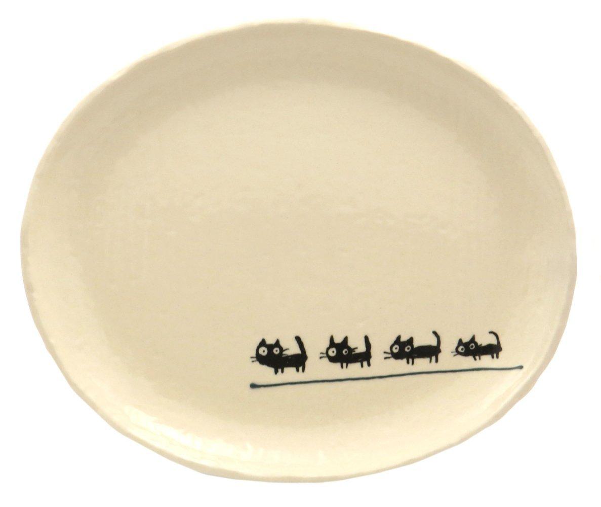 23cmのメイン用3サイズの大きいお皿【小判皿大(黒ねこグリーン)】