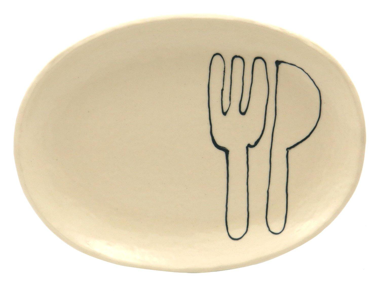 18cmの取り皿に使える楕円皿 3サイズの真ん中のお皿【楕円皿中(フォーク&ナイフグリーン)】