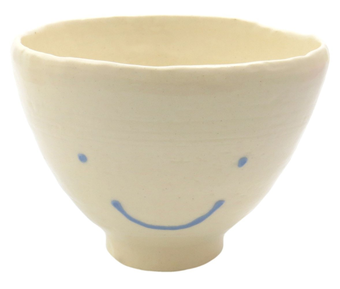 スマートな形のご飯茶碗【飯碗(ブルーにっこり)】