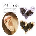 【1月新作】[16G14G]甘すぎない、きちんと可愛い♪BLACKハート軟骨ピアスボディピアス 0354