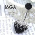 [16G]送料無料!グラデcolorに一目惚れ♪大粒豪華スワロフスキーハート×パヴェキャッチへそピアスボディピアス 0521