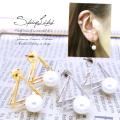 (20G)立体的なtriangleフレームが表情豊かに。洗練された華やかさ。デザインパールピアス 0907