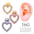 [16G]キラキラと輝いて愛らしさをプラス♪CZオープンハートモチーフストレート軟骨ピアスボディピアス 0964