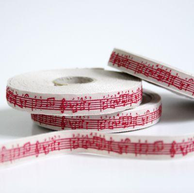 〔A-35053-01〕 リボンテープ  1cm幅  音楽 / アンティーク&赤 (10cm単位) 【数量限定】
