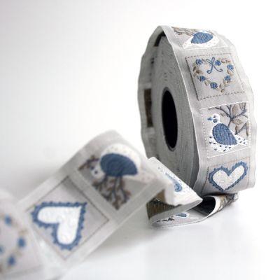 *〔A-35088-02〕 リボンテープ  3cm幅  鳥&ハート /ぺトロールブルー (10cm単位) 【数量限定】