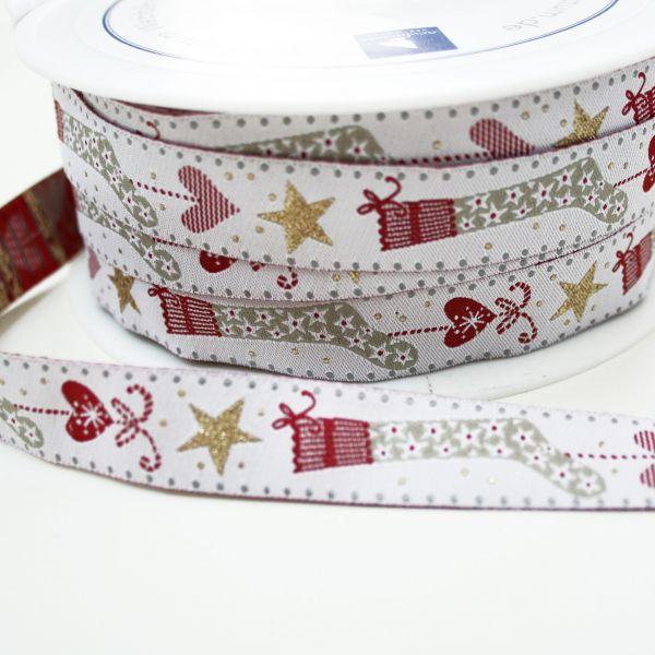 *〔A-35178〕 リボンテープ  クリスマスソックス 1.6cm幅  (10cm単位) 【数量限定】
