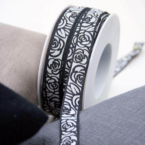 *〔A-35178〕 リボンテープ  バラ / ブラック 1.6cm幅  (10cm単位)