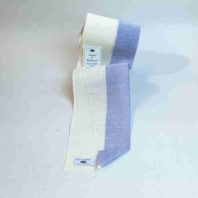 〔VH-2027-120-227900〕 リネンテープ 12cm幅 / ブリーチ&ライトブルー (10cm単位)