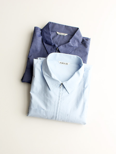 AURALEE SELVEDGE WEATHER CLOTH ZIP SHIRTS