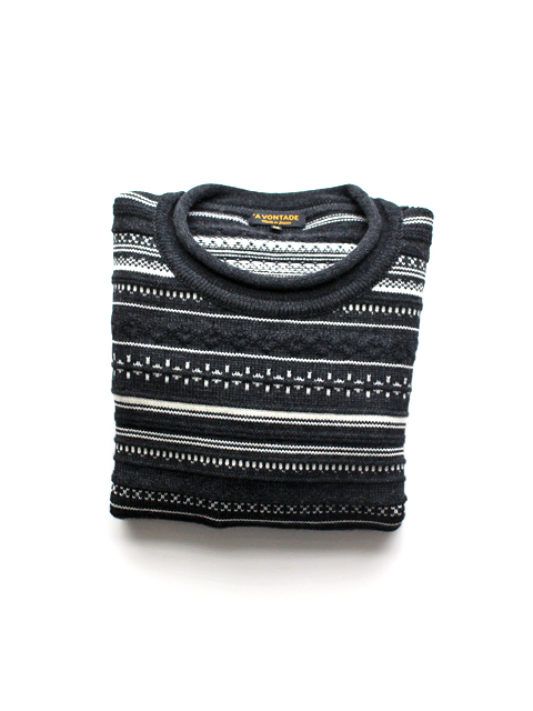 A Vontade Jacquard Border Roll Neck Sweater