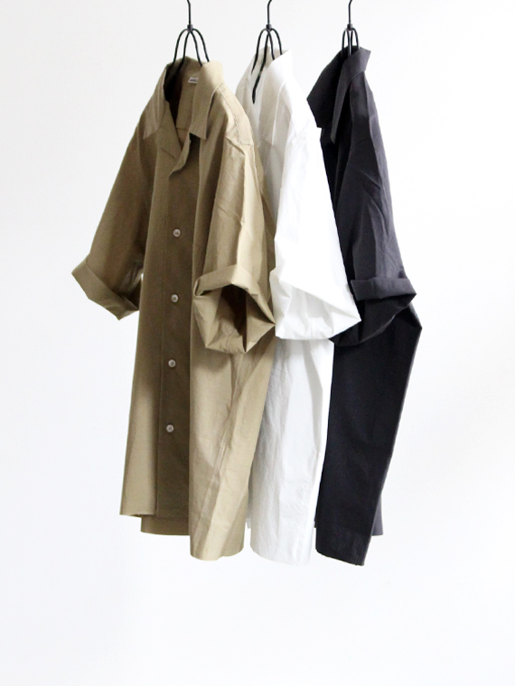 AURALEE SELVEDE WEATHER CLOTH OPEN COLLARED SLEEVED SHIRTS